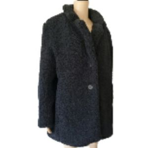 Liz Claiborne Black Fleece Fuzzy Coat Petite XL